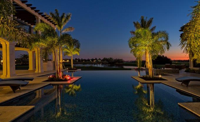 Water feature lighting Naples